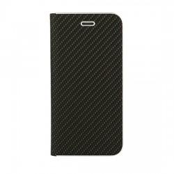 Knižkové puzdro Vennus Carbon s rámom pre Huawei P Smart čierne.
