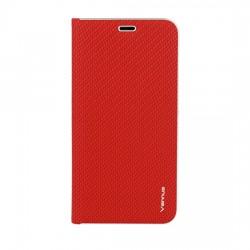 Knižkové puzdro Vennus Carbon s rámom pre Huawei Y5 2018 červené.