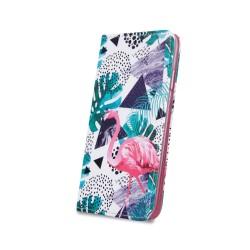 Puzdro Trendy pre Lenovo Moto G7 Play vzor Flamingo a rastliny.
