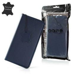 Puzdro Genuine kožené pre Samsung A202F Galaxy A20e tmavomodré.
