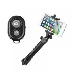 Selfie tyč s statívom a diaľkovým ovládaním bluetooth čierna.