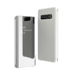Puzdro Flip View pre Samsung G970F Galaxy S10e strieborné.
