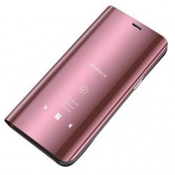 Puzdro Clear View pre Motorola Moto G8 Plus ružové.