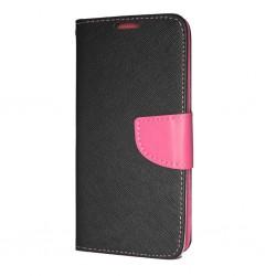Puzdro Fancy pre pre Huawei P30 čierno-ružové .