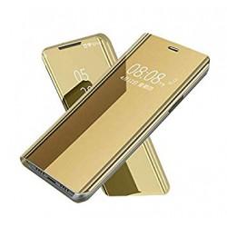 Puzdro Clear View pre Samsung Galaxy A12 zlaté.